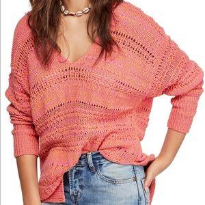 NWT Free People Hot Tropics V-Neck Sweater Paloma